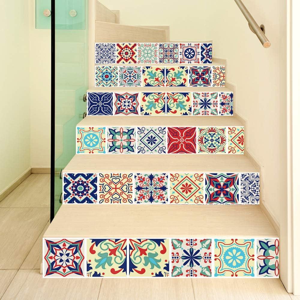 - Bohemian Style Stair Sticker Waterproof Backsplash Stairs Decals