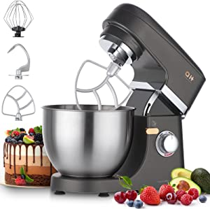 Stand Mixer, Aukey Home 8+1-Speed Tilt-Head, 600W Kitchen Electric Mixer with 5QT Stainless Steel Bowl,Planetary Mixing System, Dough Hook, Flat Beater, Whisk, Splash Guard, Dishwasher Safe, Grey