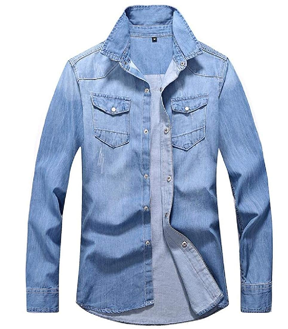 GRMO Men Long Sleeve Denim Buttons Basic Chest Pocket Shirts