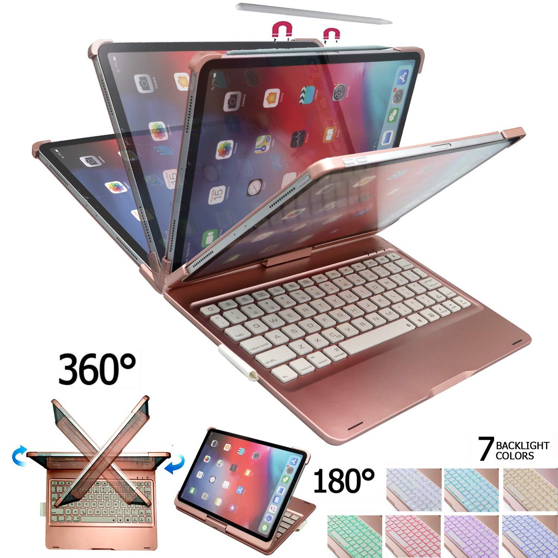 人気が高い iPad Pro 11キーボードケース – バックライト7色 – バックライト7色 360度回転可能 – F360-Ipro11 180フリップ Apple – Apple Pencilワイヤレス充電をサポート – ワイヤレスBluetoothキーボード Apple iPad Pro 11インチ2018用ケース付き ピンク F360-Ipro11 B07P8VJ62Z, ニシノミヤシ:86ecde71 --- vezam.lt