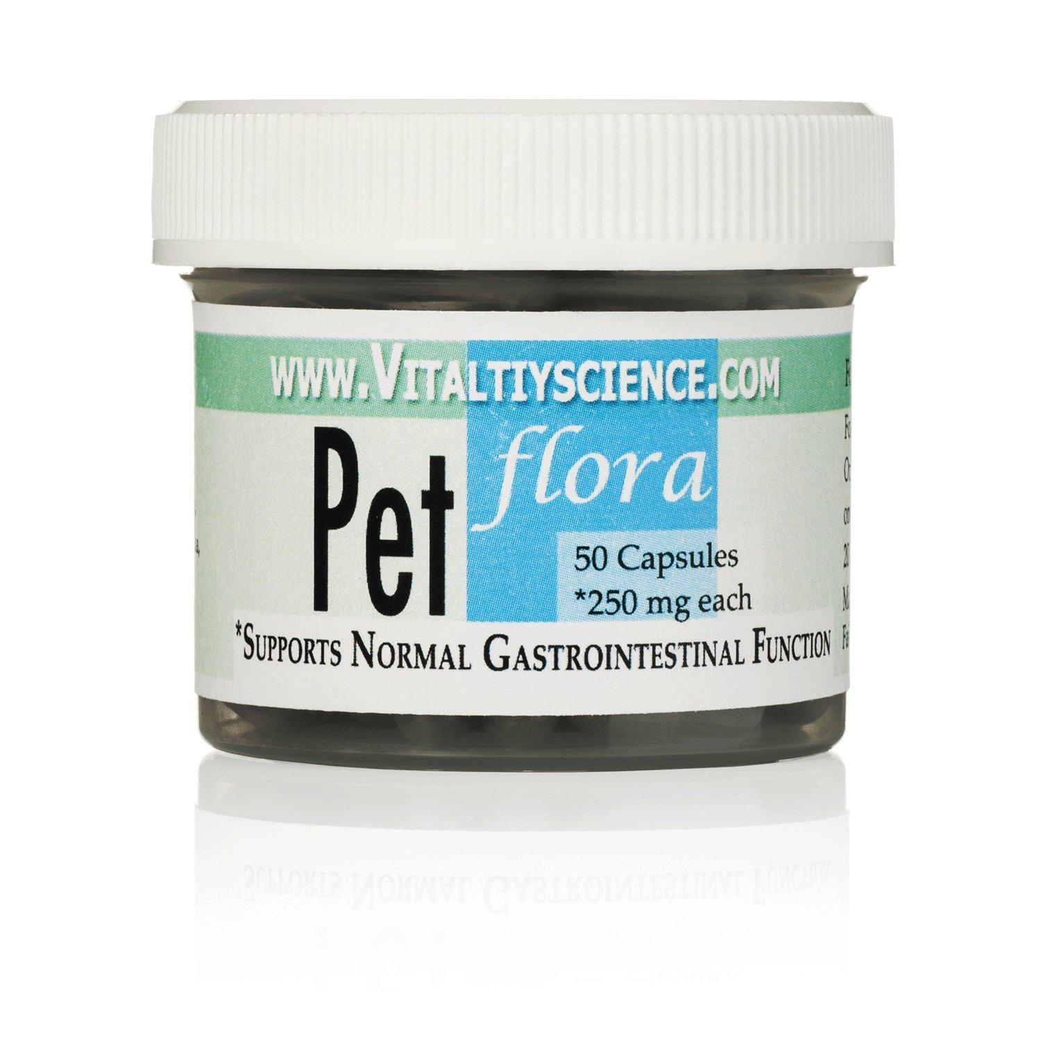 Pet Flora 50 caps - Soil Based Probiotic for Cats - Supports Normal Gastrointestinal Function by Vitality Science