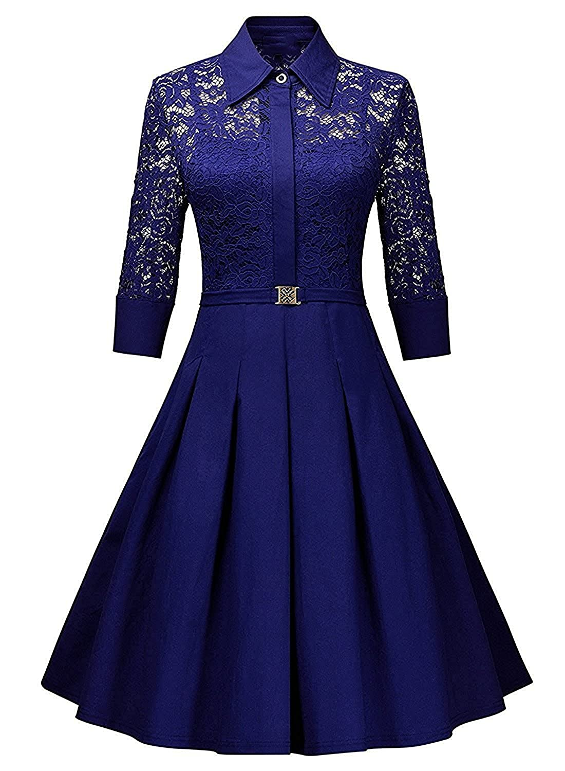 4e721e64ff680 Famous Fab Women's Crepe Lace Flare A-Line Dress (Royal Blue, Free Size):  Amazon.in: Clothing & Accessories