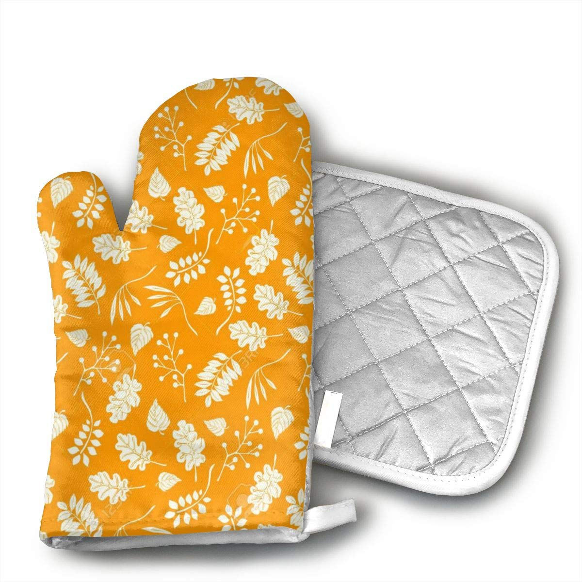 EROJfj Autumnal Sea Oven Mitts and Potholders BBQ Gloves-Oven Mitts and Pot Holders Non-Slip Cooking Gloves for Cooking Baking Grilling