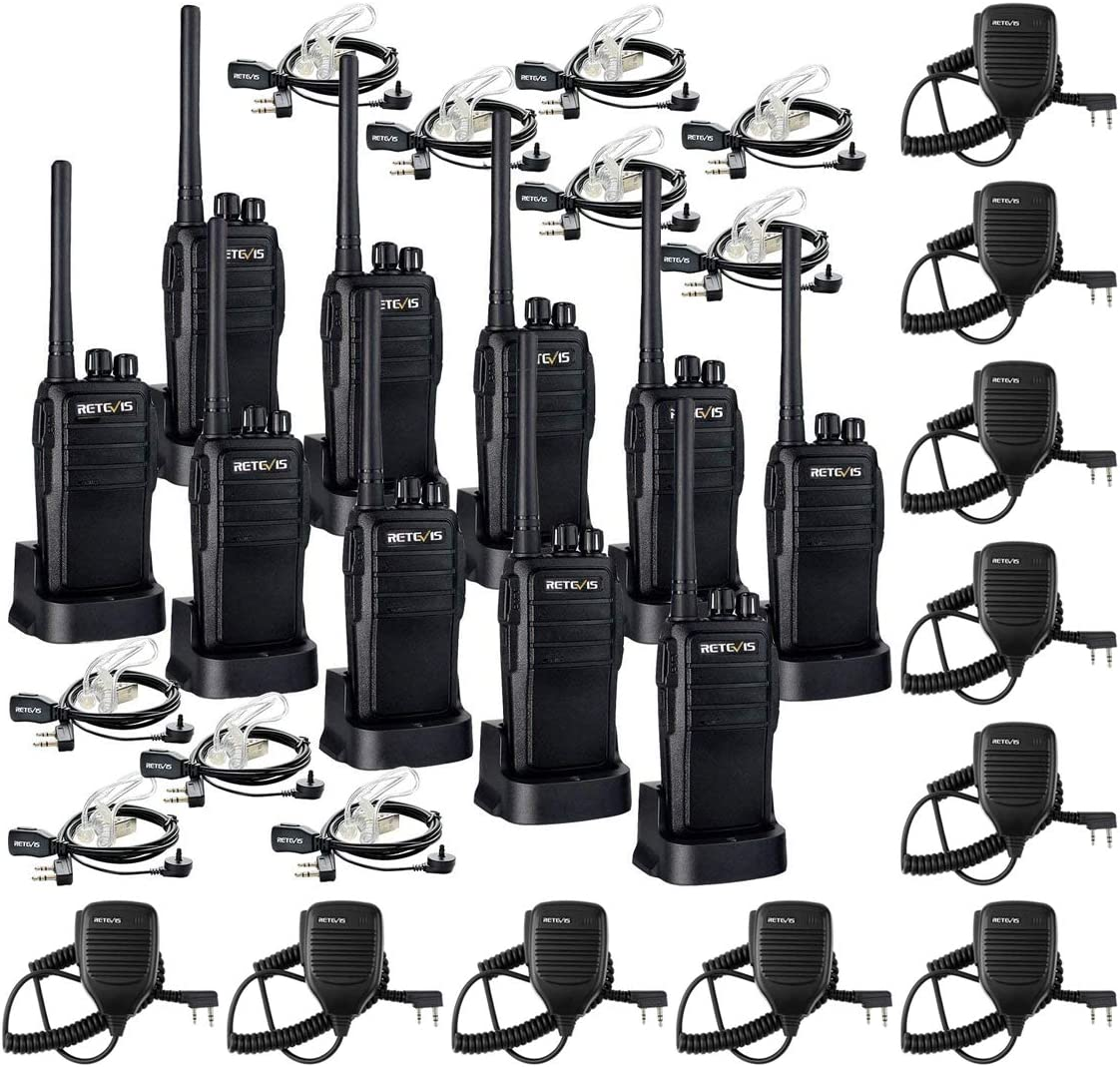 Retevis RT21 Two Way Radios Long Range Rechargeable for Adults Bundle with 2 Pin Speaker Mic(1 Pack)