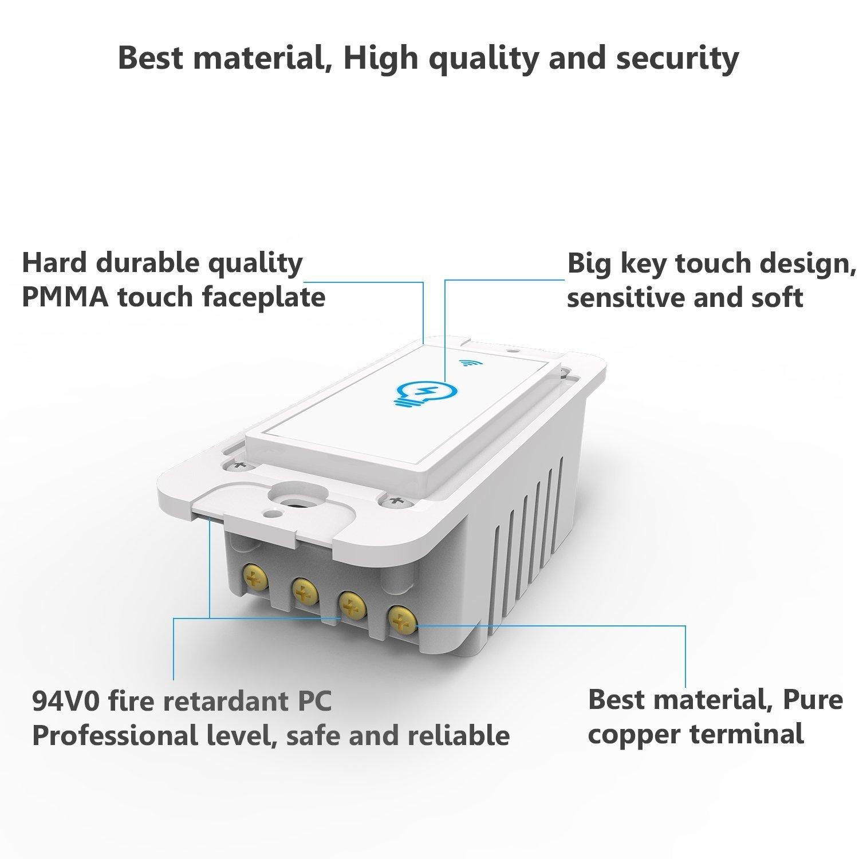 Megadream WiFi inteligente de pared Alexa interruptor de luz, encendido/apagado interruptor de voz/mando a distancia con teléfono móvil, protección de ...