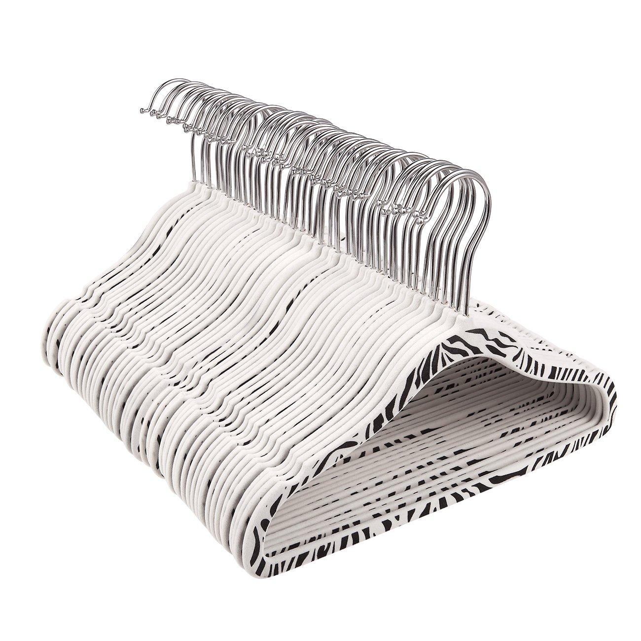 Juvale 50-Pack Velvet Hangers - Non-Slip Zebra Pattern Kids Velvet Hangers, Thin Hangers, Non Slip Hangers, White - 11.5 x 8.3 Inches
