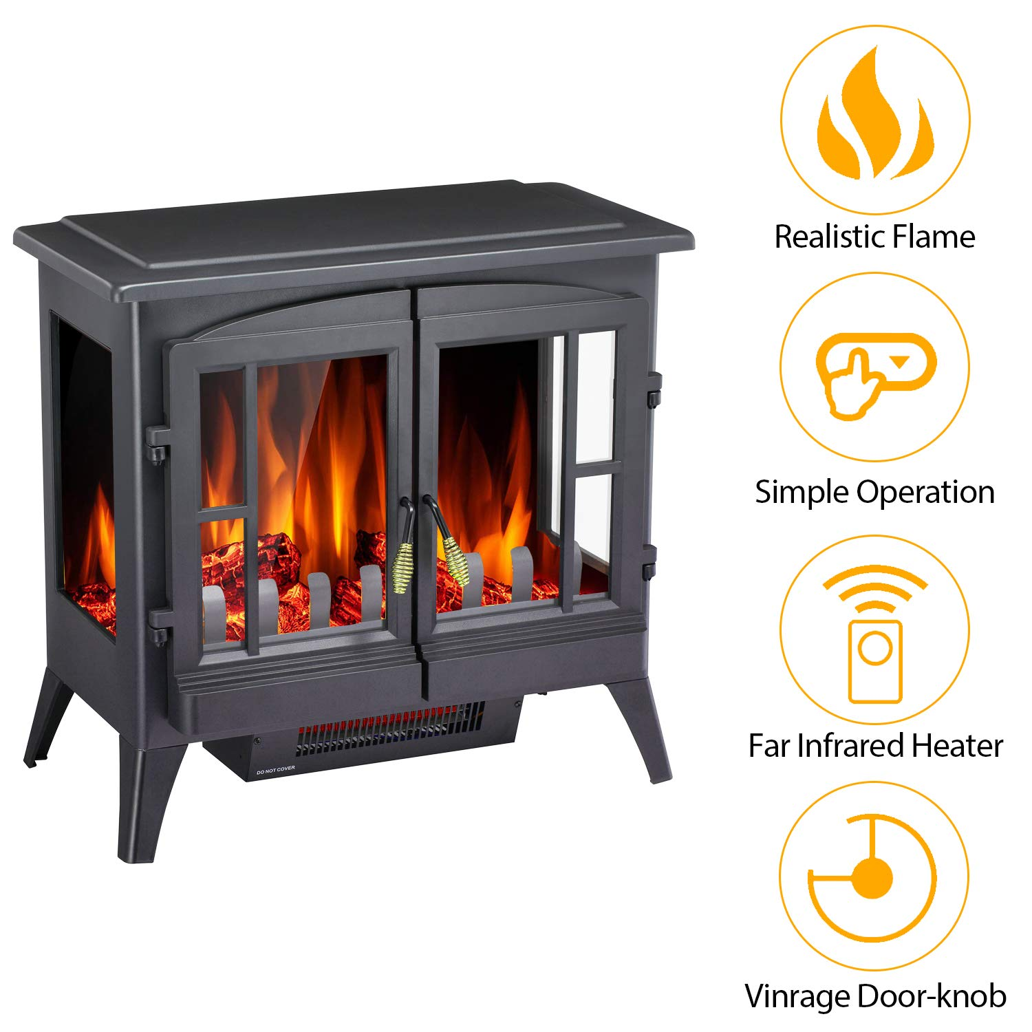 Antratic Star Infrared Electric Fireplace Stove Freestanding, 1000 1500w Portable Indoor Electric Fireplace Heater with Realistic 3D Flames Black