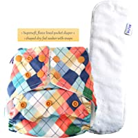Basic by Superbottoms - Certified Soft Fleece Lined Pocket Diaper with 1 Wet Free Insert with Snaps (PeachGeometric)