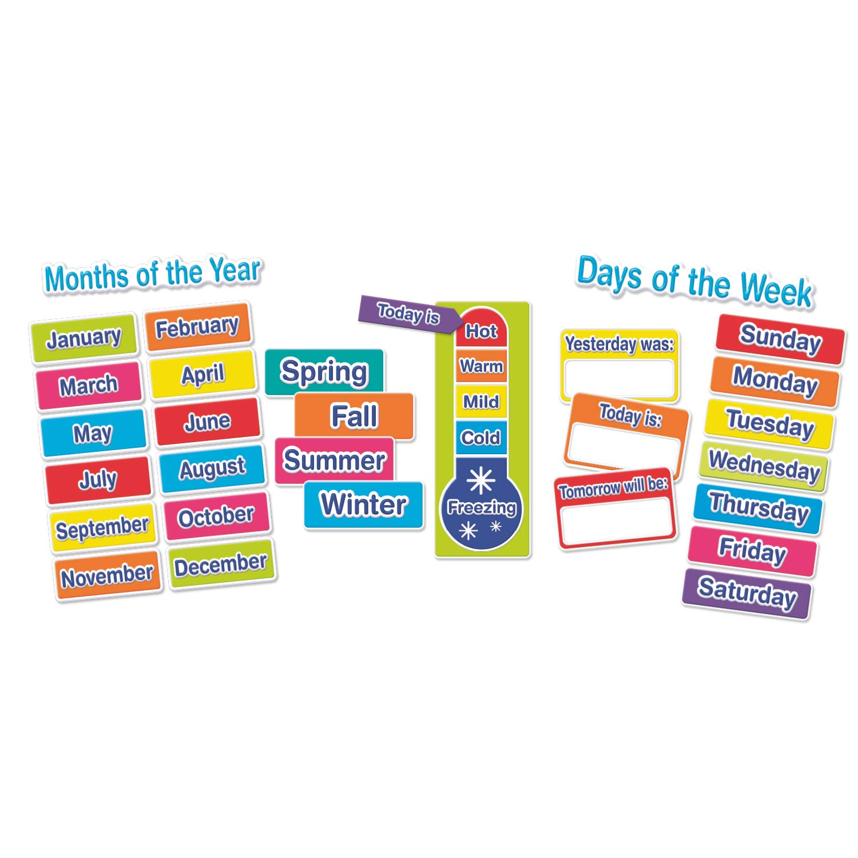 Eureka Multicolor Weather and Calendar Bulletin Board Classroom Decoration Set, 38pcs, 17'' x 24''