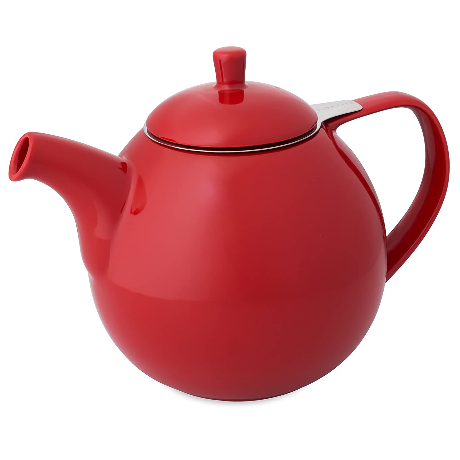 amazon com forlife curve teapot with infuser 45 ounce red teapots