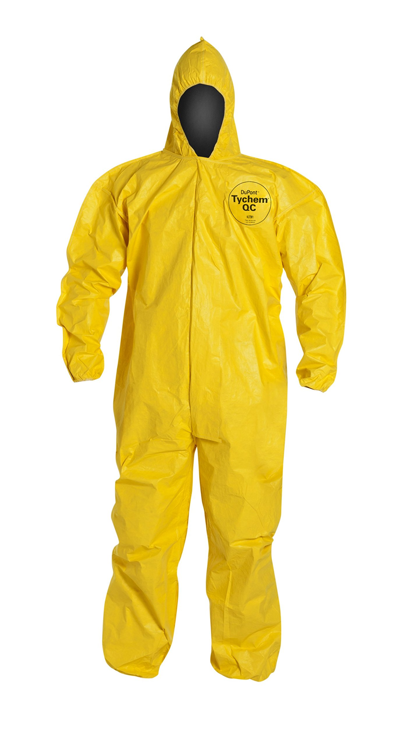 DuPont Tychem 2000 QC127B Disposable Chemical Resistant Coverall with Hood, Elastic Cuff and Bound Seams, Yellow, Large (Pack of 12)