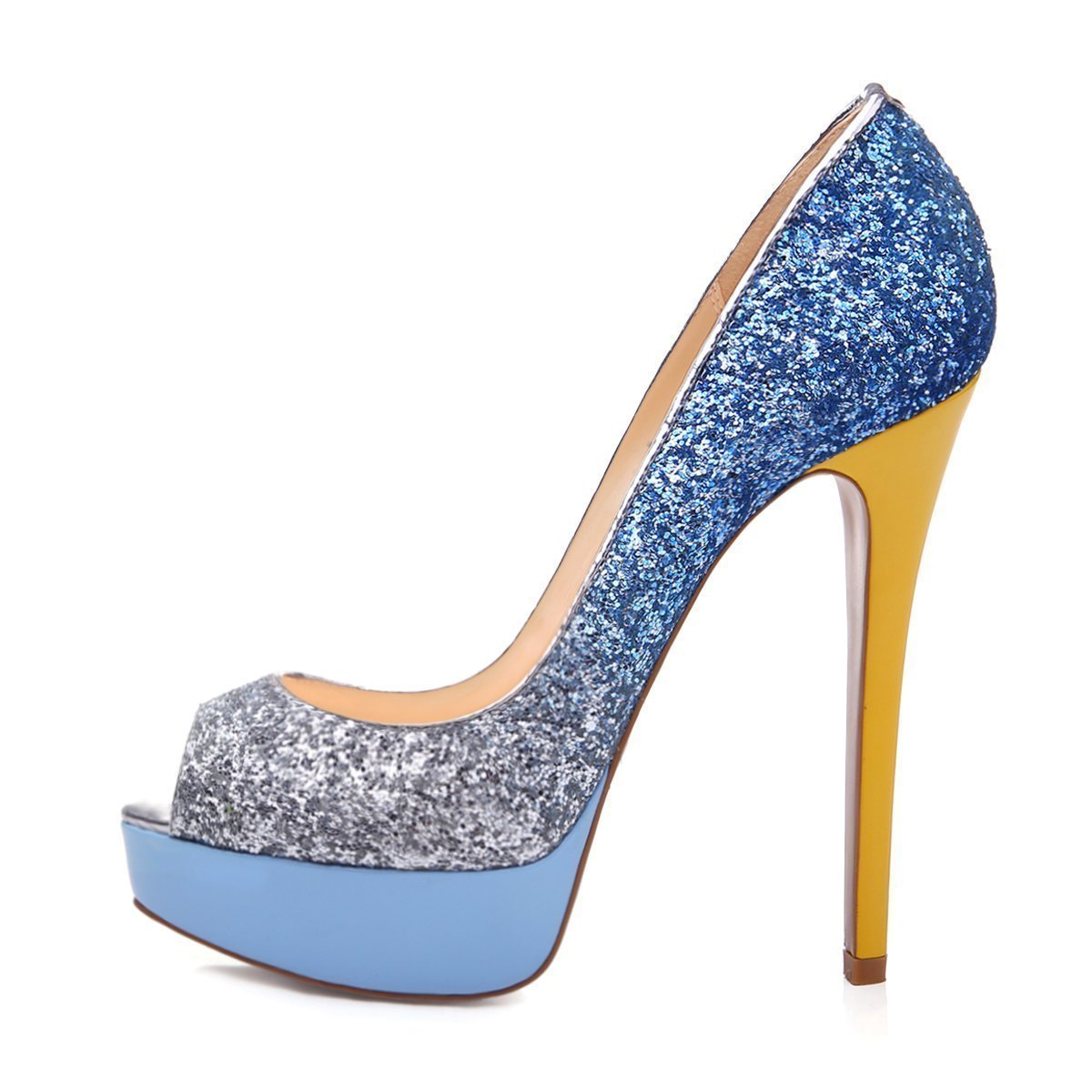 UBeauty Damen Pumps Stilettos High Heels Peep Blau Toe Glitzer Übergröße Sandalens mit Plateau Mehrfarbig Blau Peep dfc231
