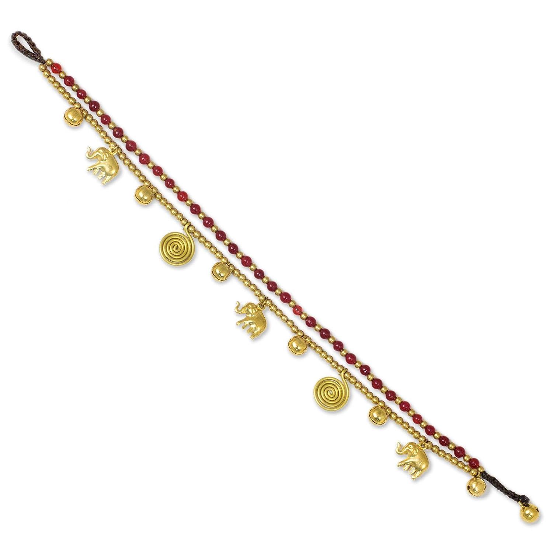 NOVICA Red Quartz Brass Beaded Elephant and Spiral Charm Anklet, 9.5 Golden Bell
