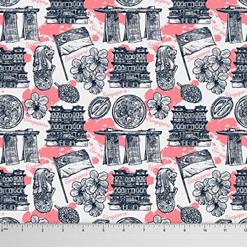 Soimoi 65 GSM Singapore Theme Architectural Print 44 Inches Wide Georgette Fabric By The Yard - - Singapore Prints