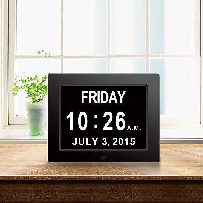 <2017 actualización>Gran reloj de pared Reloj digital original -La pérdida de la memoria digital Día Calendario Reloj con la extra grande para no abreviada ...