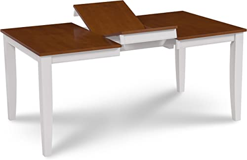Trithi Furniture – Fullerton Solid Wood Extendable Dining Table with Cherry Color Tabletop White Frame
