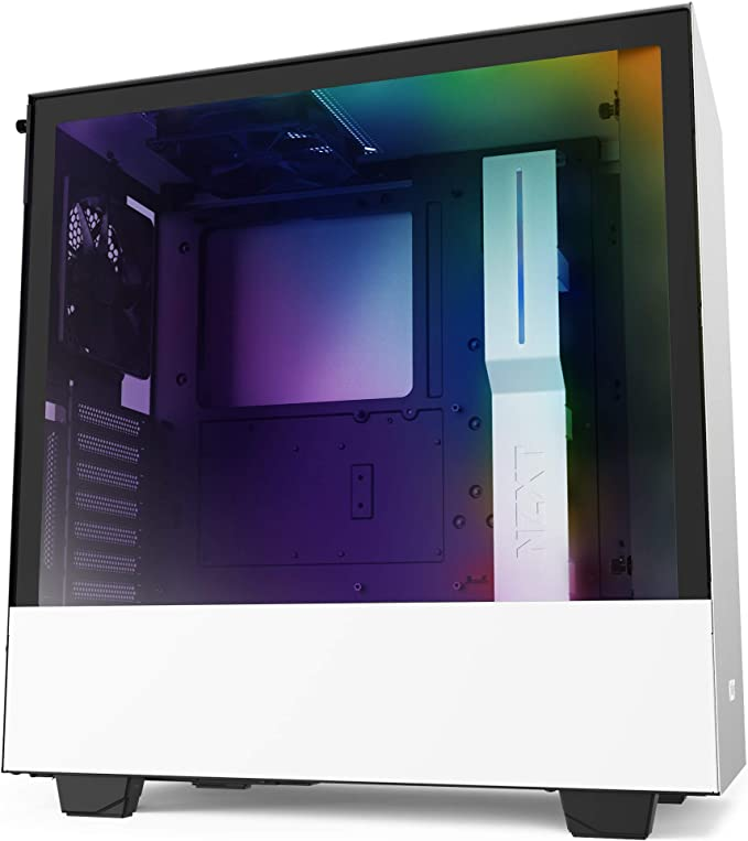 NZXT H510i - CA-H510i-W1 - Compact ATX Mid Tower PC Gaming Case - Front I/O USB Type-C Port - Vertical GPU Mount - Tempered Glass Side Panel - Integrated RGB Lighting - White/Black: Amazon.co.uk: Computers & Accessories