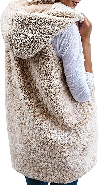 Gilet Donna con Cappuccio e Tasche Moda Cardigan Aperto Felpa Cappotto Senza Maniche Sciolto Giacche Invernali Ragazza Cappotti Giubbotto Finta Pelliccia Hoodie Jacket Outwear Blazer Top Tinta Unita