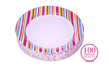Origami 9\u0026quot; Striped Printed Party Paper Plates ...  sc 1 st  Amazon.in & Buy Origami 9\