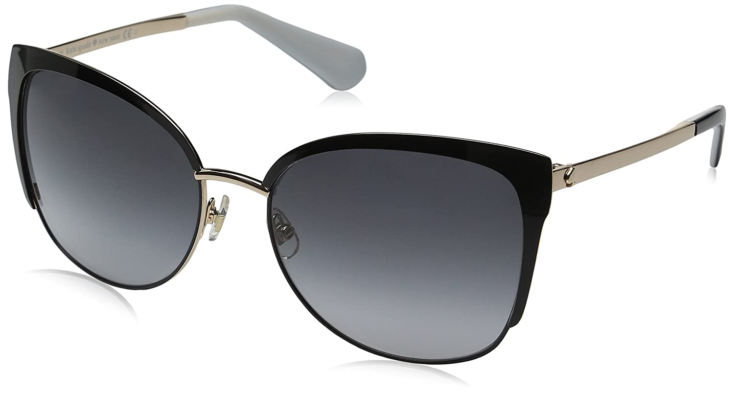 a351db46de Amazon.com  Kate Spade Women s Genice s Oval Sunglasses Black Gold Gray  Gradient 57 mm  Clothing