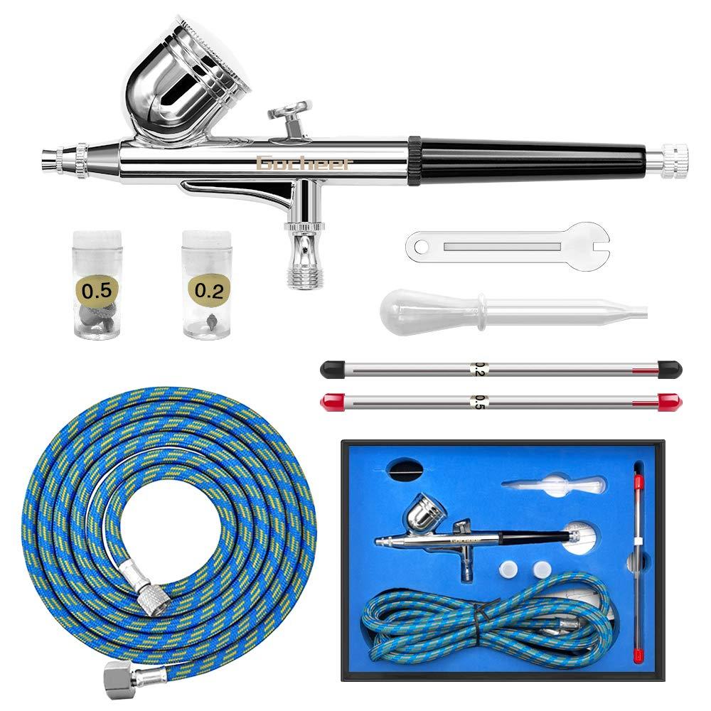Gocheer Kit Pistolet Aerographe Inclus Double Action Aerographe,Tuyau,Mini Clé,Compte-Gouttes et 0,2/0,3/0,5 Buse et Aiguille pour Airbrush Remplacement