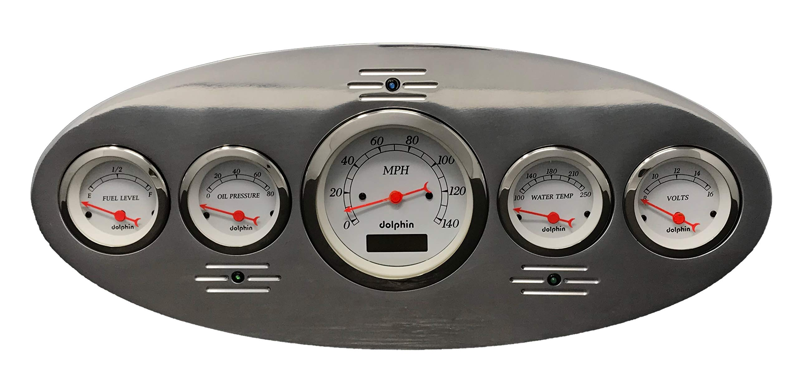 Dolphin Gauges 1934 Plymouth 5 Gauge Dash Cluster Panel Set Programmable White