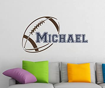 Initial Name Wall Decal American Football Wall Decals Personalized Initial  Name Monogram Nursery Kids Boys Teens