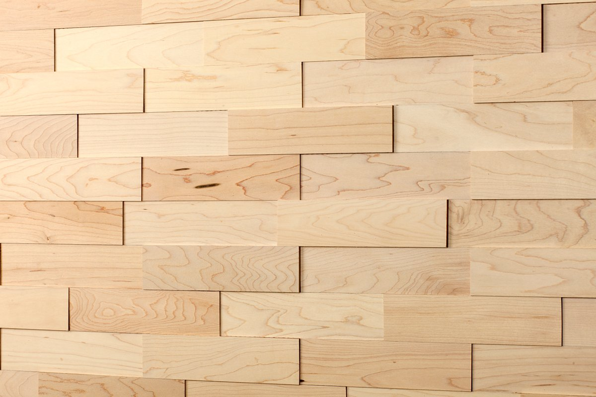 wodewa Cladding wall real wood Hard Maple 200 x 50 3D effect solid ...