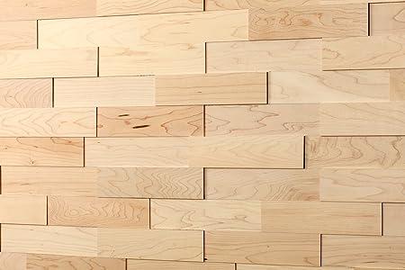 Cladding wall wodewa real wood Hard Maple 200 x 50 3D effect solid ...