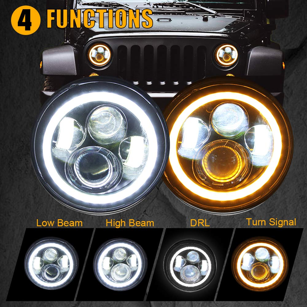 "7"" LED Headlights with Halo White DRL & Amber Turn Signal for Jeep Wrangler"