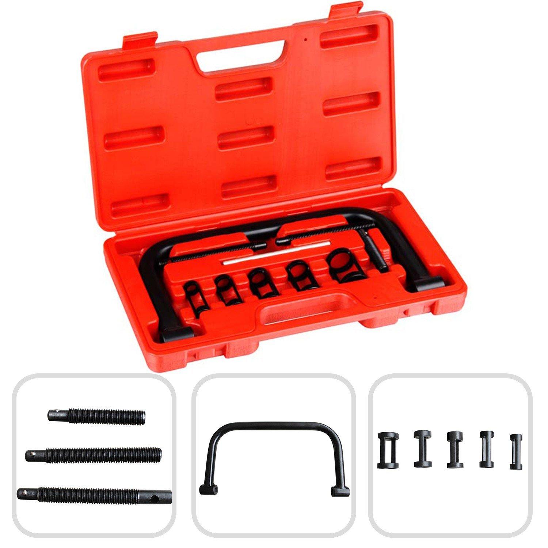 Todeco - Ventilfeder-Spanner, 11-teiliger Werkzeugkasten fü r Ventilfedern - Material: C45 Stahl - Gehä usegrö ß e: 33,5 x 19,5 x 5,5 cm - mit rotem Koffer, 11 Teile