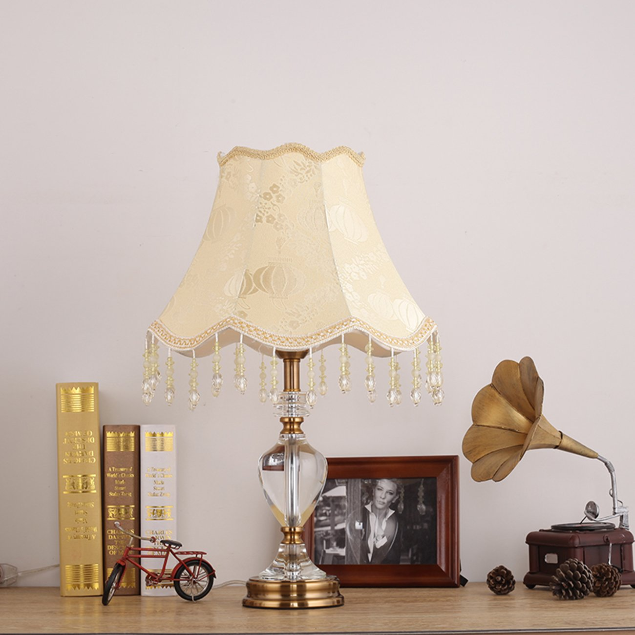 Garwarm Crystal Flower Table Lamps For Living Room Bedroom,3556CM/13.722 Inch WH