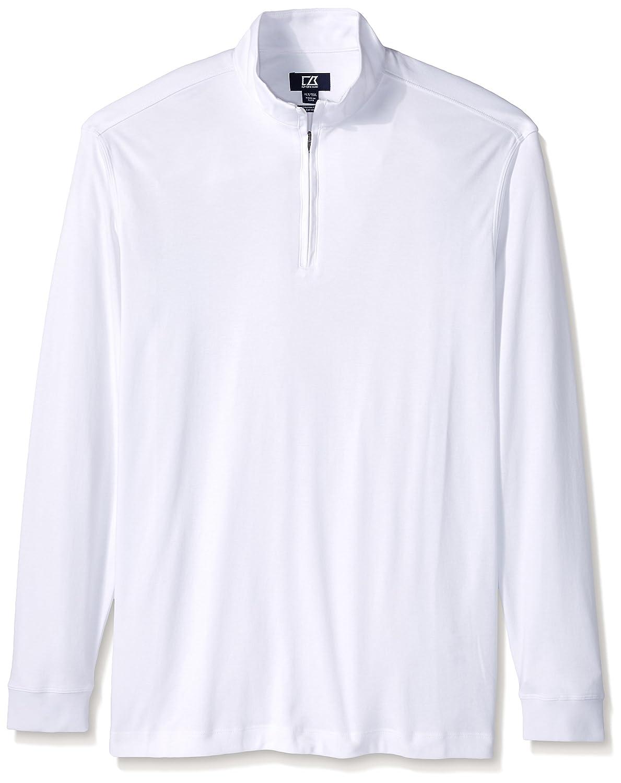Cutter & Buck Men's Tall Long Sleeve Belfair Pima Half-Zip, White, 5X Big