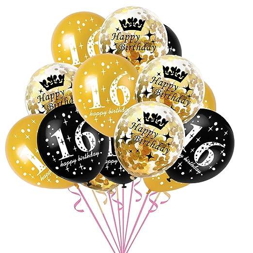 ZXGQF - Globo de látex de cumpleaños, 16 18, 30, 40, 50 y 60 ...