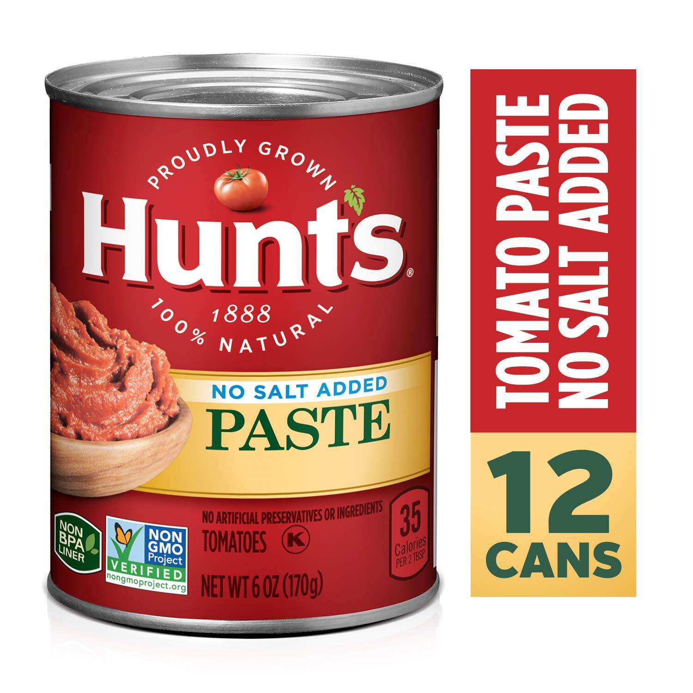 Hunt's Tomato Paste No Salt Added, Keto Friendly, 6 oz, 12 Pack
