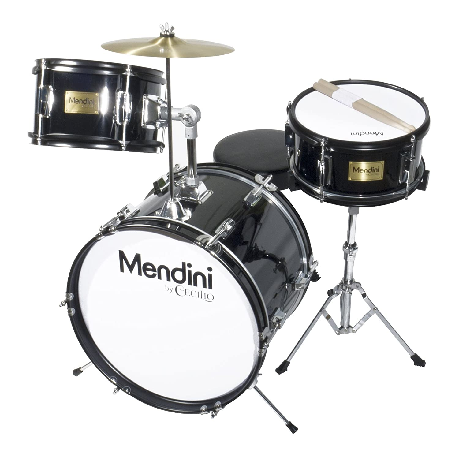 Mendini 3-Piece 16-Inch Junior Drum Set, Metallic Black - MJDS-3-BK Cecilio Musical Instruments