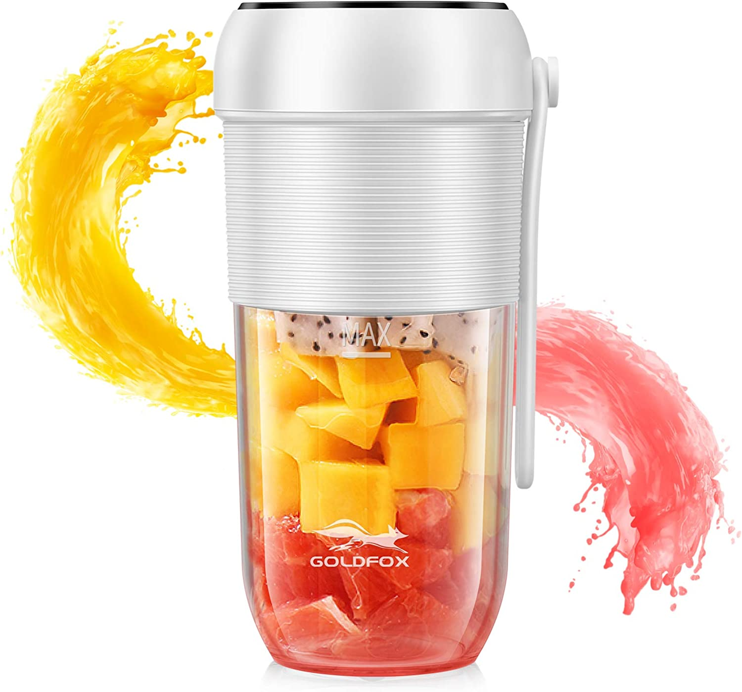 GOLDFOX Portable Blender, 350ML(11.84oz) Portable Blender Rechargeable Portable Blender for Shakes and Smoothies, Smoothie Blender for Kitcken,Gym,home,office and Travel