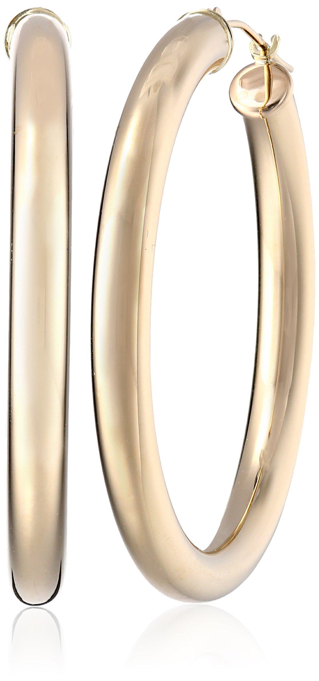 14k Yellow Gold Hoop Earrings, (1.4'' Diameter)