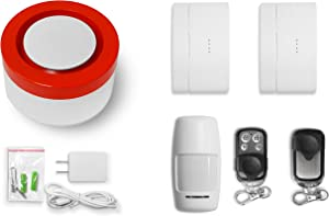Raynon WiFi Home Security System Base Kit, Alarm, Door Sensor, PIR Sensor, Remote Control