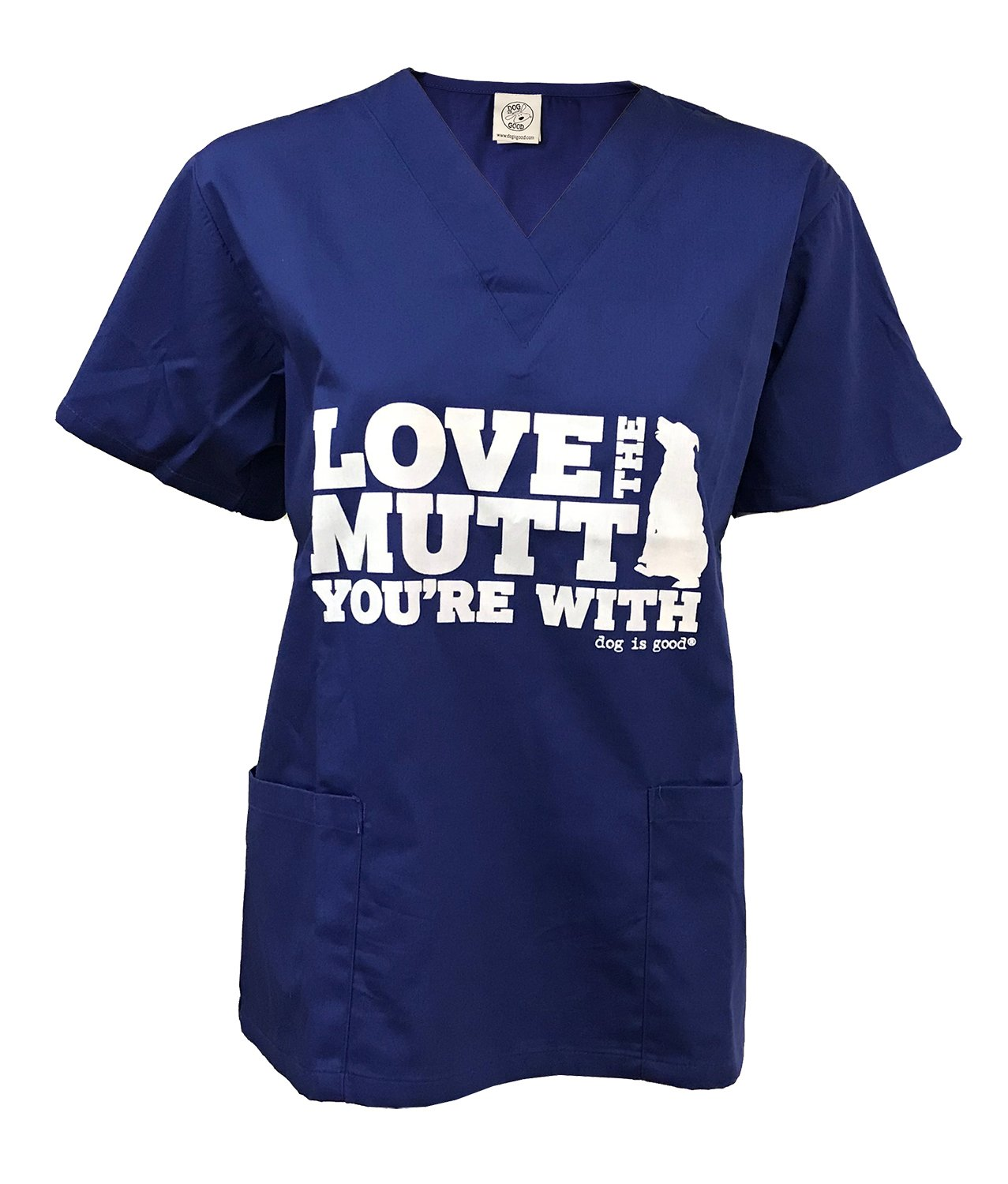 Dog is Good Love The Mutt You're With Scrub Top (Blue, X-Large)