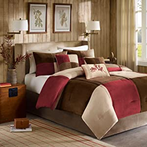 Madison Park Jackson Blocks Cal King Size Bed Comforter Set Bed in A Bag - Burgundy, Tan, Pieced Colorblock – 7 Pieces Bedding Sets – Faux Suede Bedroom Comforters