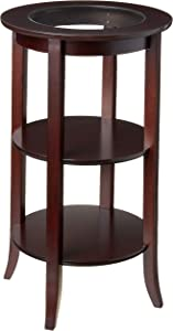 Frenchi Furniture Wood Round Side /Accent Table , Inset Glass, Two Shelves