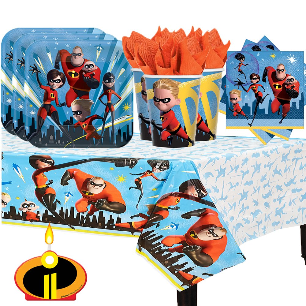 Incredibles 2 Birthday Party Pack for 16 with Plates, Napkins, Cups, Tablecover, and Candle! by Another Dream