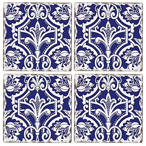 Cala Home Set of 4 Tumbled Tile Coasters, New York Botanical Garden Jardinage