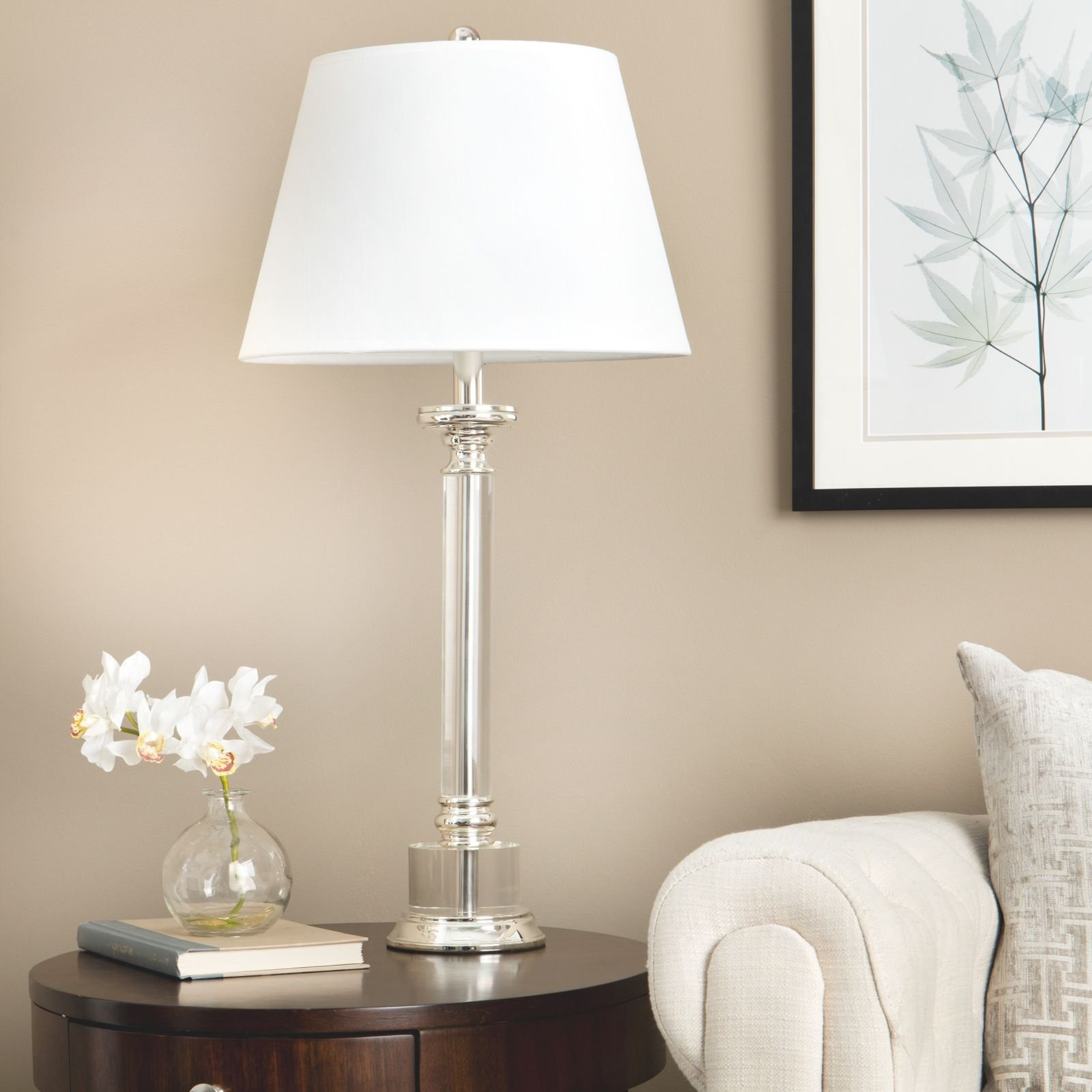 Contemporary Tall Table Lamp Suitable For Sofa, Side, End Tables And Nightstands. Round Column Lamp Provides Ample Lighting. Glass Crystal Base, White Shade And Chrome Finish Create Elegant Atmosphere by MFR Light Fixtures