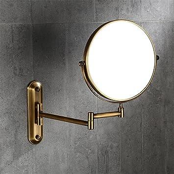 HJHET Baño Completo Espejo de Belleza Cobre Antiguo Espejo de Maquillaje de Pared para Montaje en Pared de Plegado telescópico agrandar el Espejo de un ...