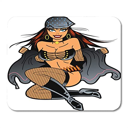 Boszina Mouse Pads Stripper White Cartoon Sexy Biker Girl With Bandana Taking Off Her Jacket Pinup