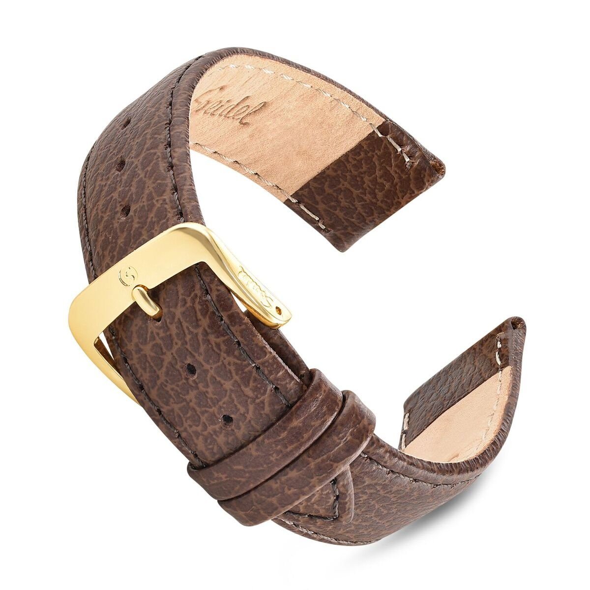 Speidel Genuine Leather Watch Band 16mm Brown Cowhide Stitched Replacement Strap with Tone on Tone Stitching, Stainless Steel Metal Buckle Clasp, Watchband Fits Most Watch Brands