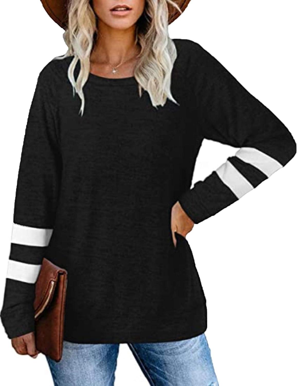 2020 Camiseta Informal de Cuello Redondo con Costura de Manga Larga para Mujer