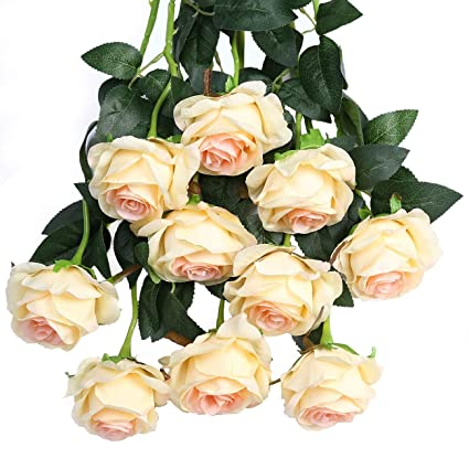 Amazon Com Luyue Artificial Silk Rose Flower Bouquet Wedding Party
